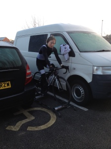 Mel Brand maximising her training time on an early January morning.