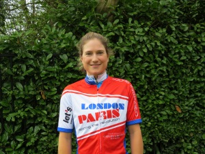 Mel Brand sporting the London-Paris jersey - another ride organised by Geoff Thomas for Cure Leukaemia